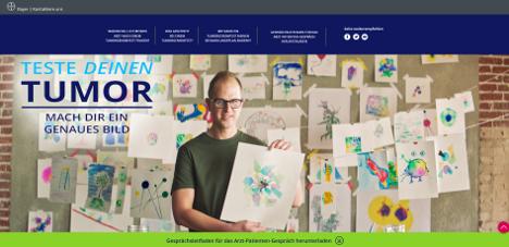 Auf der Webseite testedeinentumor.de beschreiben Krebspatienten, wie sie sich ihren Krebs bildlich vorstellen (Foto: Screenshot / Bayer)